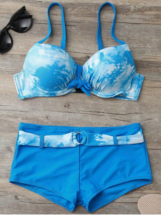 shop Tie-Dyed Underwire Tied Bikini Bra with Boxers - LAKE BLUE S