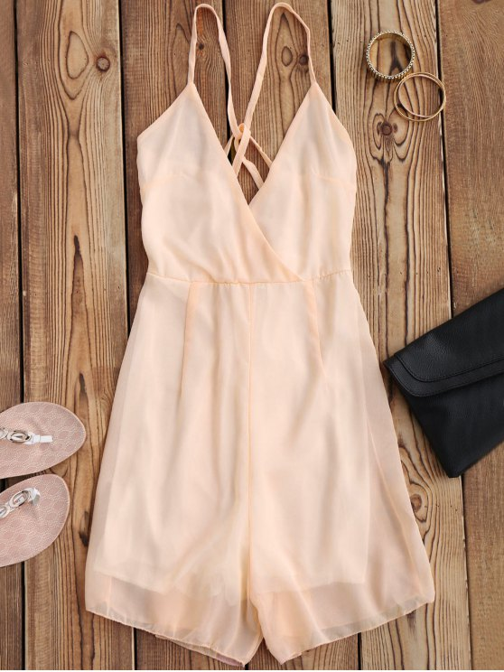 outfit Crossover Cami Chiffon Beach Romper - PINK XL