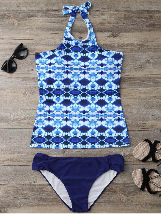 lady Halter Tie-Dyed Padded Tankini Set - PURPLISH BLUE L