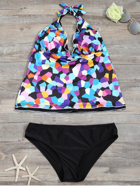 Halter conjunto de Tankini de impresión geométrica de colores - Negro S