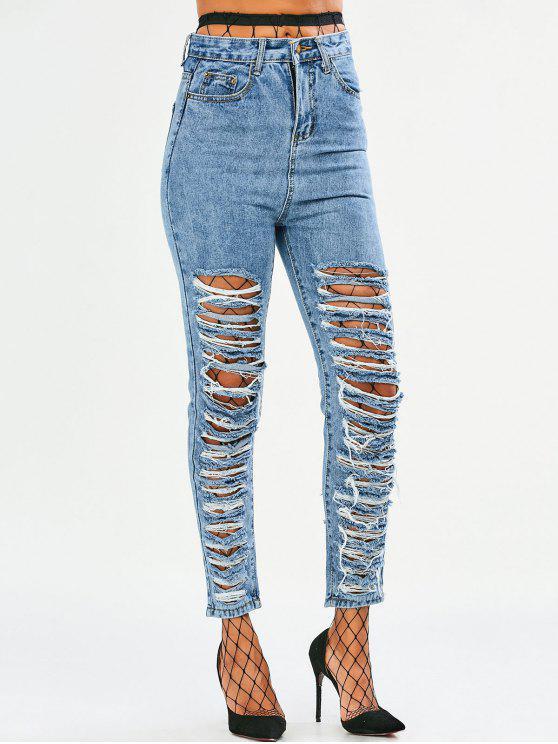 trendy Tapered Distressed Jeans - DENIM BLUE L