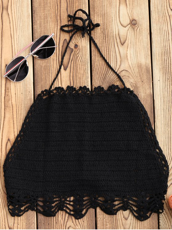 unique Halter Crochet Crop Top - BLACK ONE SIZE