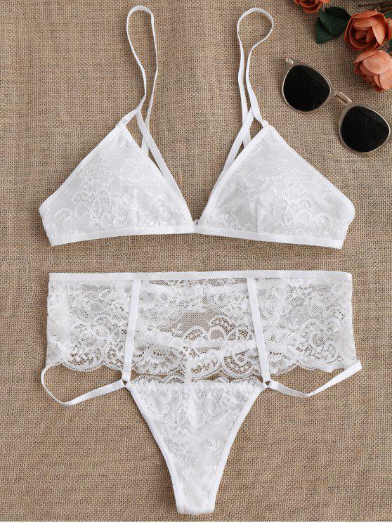 Set de sujetador de encaje con cintura alta y cintura alta - Blanco M