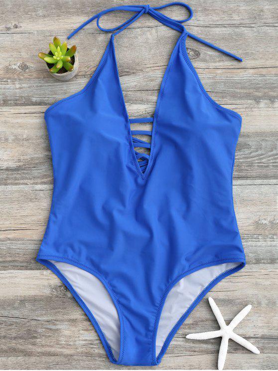 Strappy halter traje de baño de una pieza - Azul XL