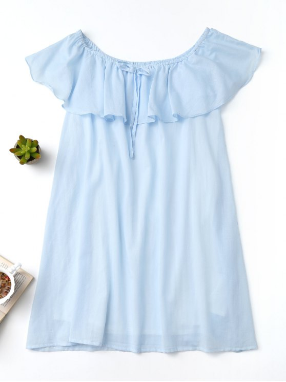 best Frilly Off The Shoulder Dress - LIGHT BLUE M