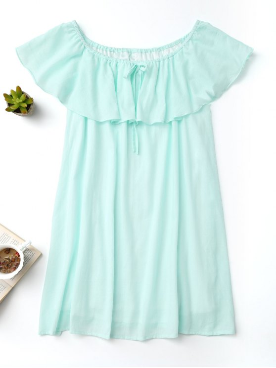 shop Frilly Off The Shoulder Dress - TURQUOISE M