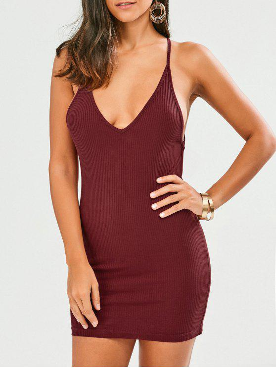 Cross Criss Backless Bodycon Vestido - Vino Rojo XL