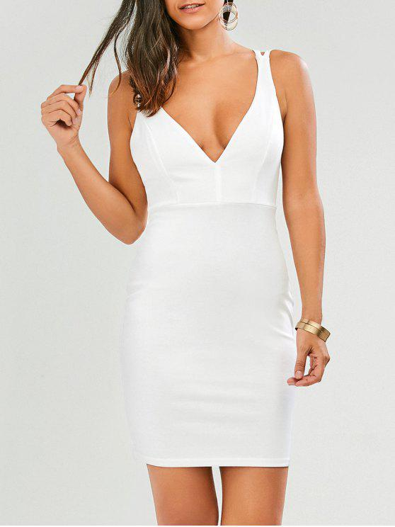 fancy Plunge Strappy Bodycon Dress - WHITE M