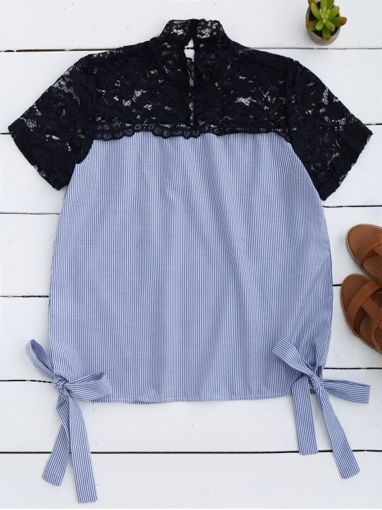 fashion Stripes Lace Panel Top - LIGHT BLUE S