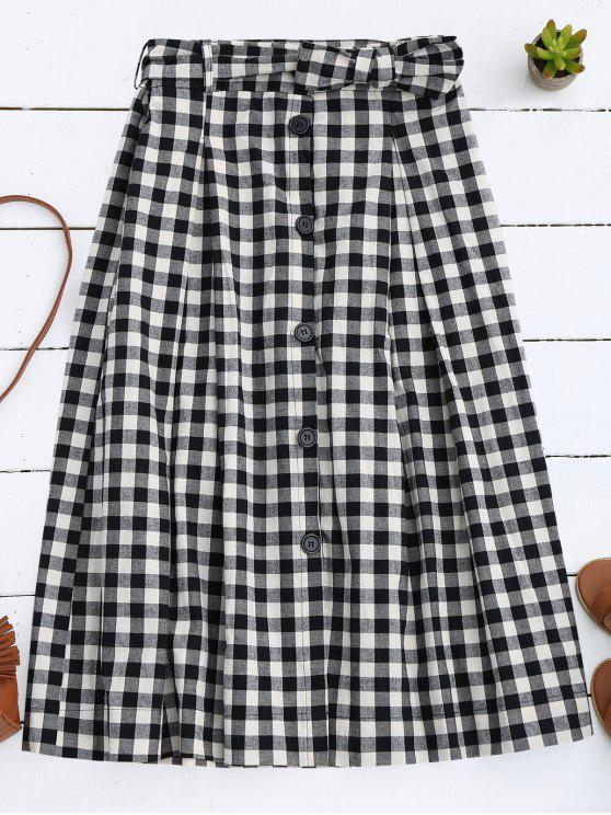 lady Button Up Bowknot A-Line Skirt - BLACK S