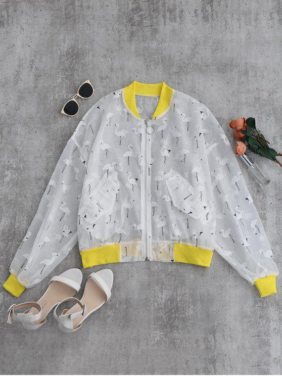 trendy Crane Color Block Sunblock Baseball Jacket - YELLOW S