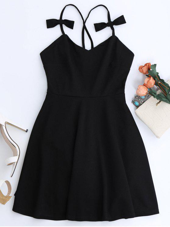 buy Bowknot Slip Skater Backless Dress - BLACK L