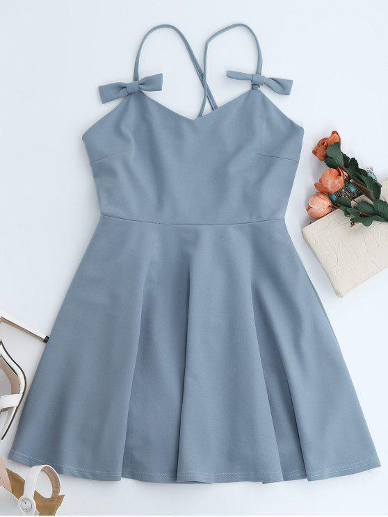 women Bowknot Slip Skater Backless Dress - LIGHT BLUE M