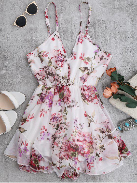 Cami Floral Chiffon Holiday Romper - Blanc S