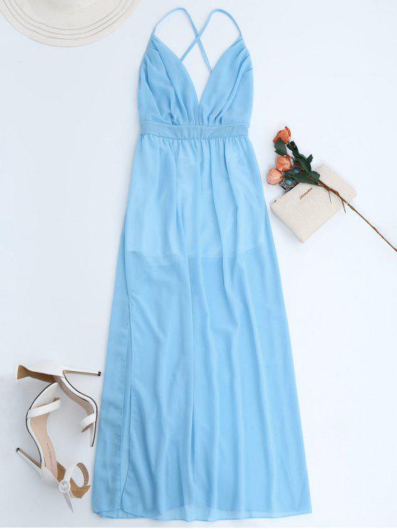 online Plunge Open Back Slit Chiffon Dress - SKY BLUE S