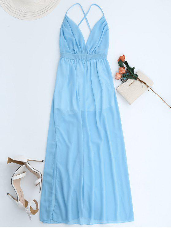 new Plunge Open Back Slit Chiffon Dress - SKY BLUE M