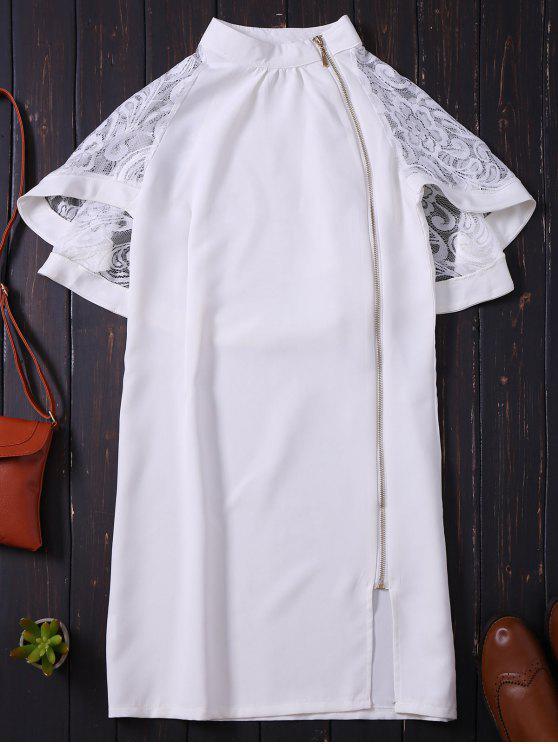 Zip con cordones de encaje Bodycon vestido - Blanco S