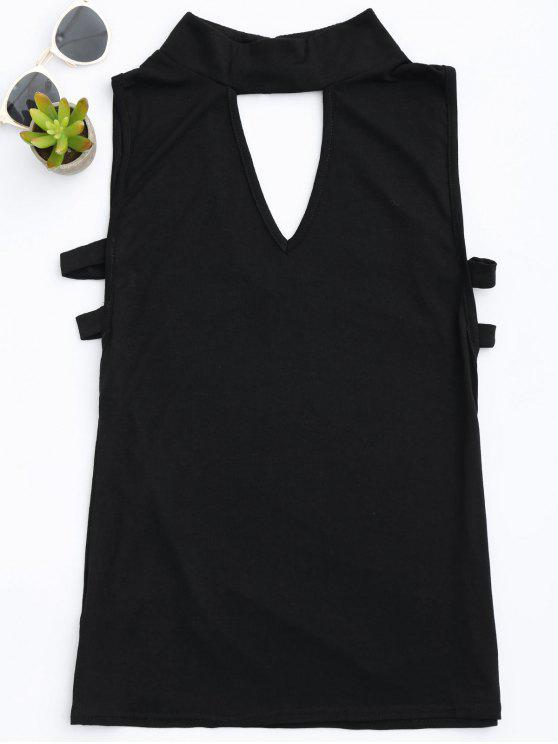 sale Stand Collar Armhole Cut Out Tank Top - BLACK L