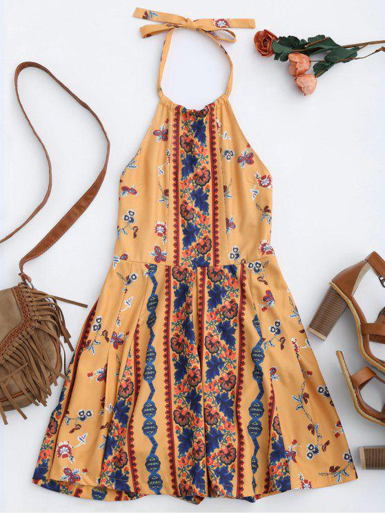 lady Print Halter Skirted Open Back Romper - YELLOW XL