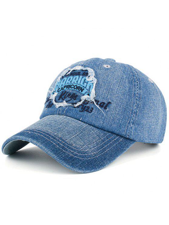 التطريز رسائل خليط الدنيم قبعة بيسبول - الضوء الأزرق