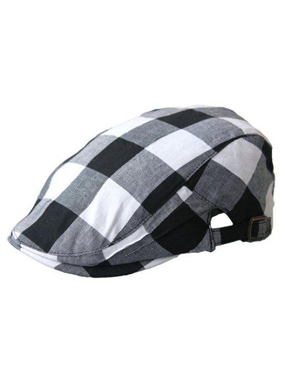 مربع منقوشة متعددة الطبقات قبعة مسطحة - أسود أبيض