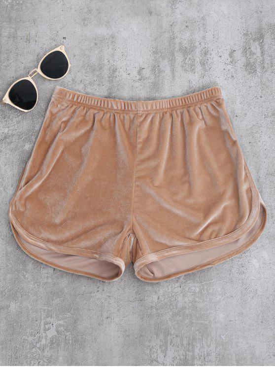 buy Sporty Velvet Shorts - KHAKI M