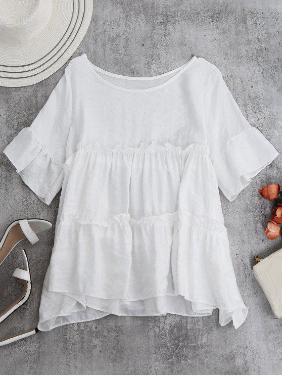 Blusa de Bata con Volantes - Blanco Única Talla