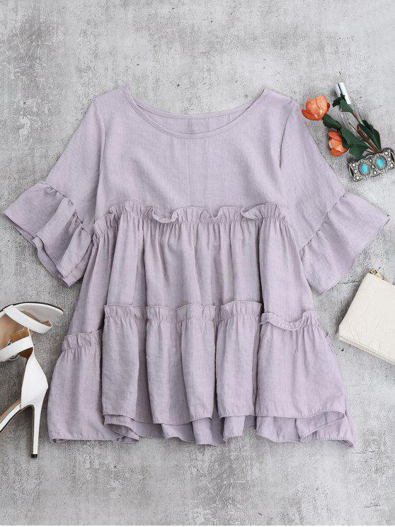 outfits Ruffles Smock Blouse - LIGHT PURPLE ONE SIZE