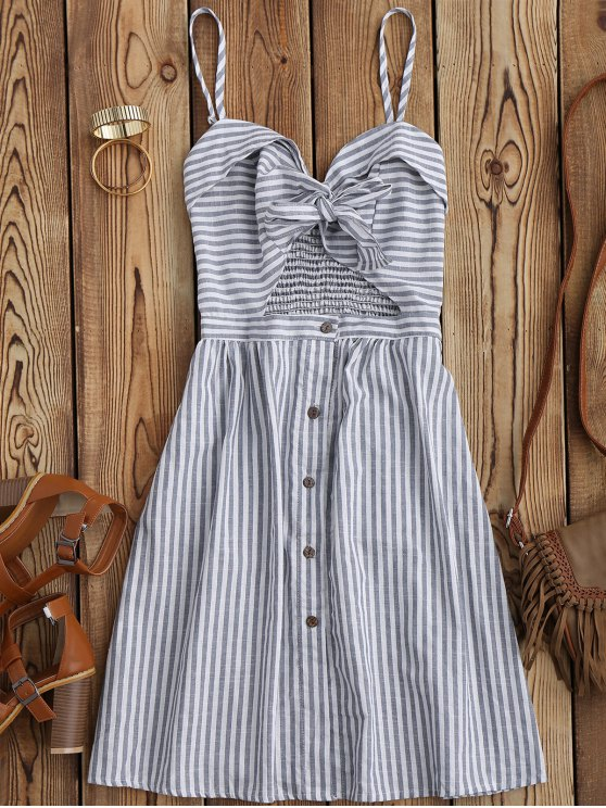 best Striped Front Knot Cutout Cami Dress - STRIPE M