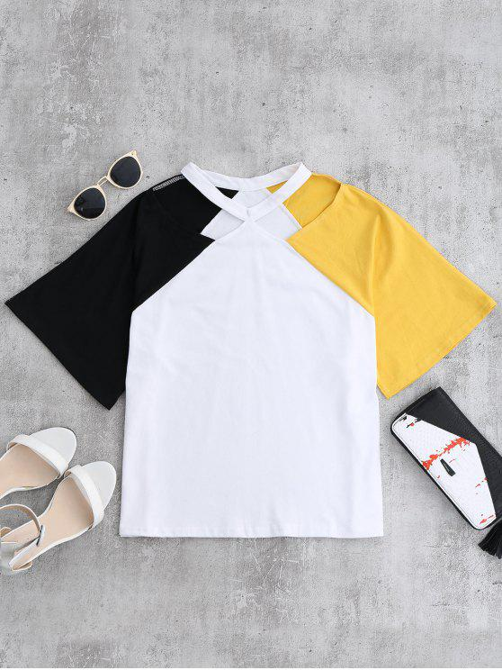 latest Color Block Cold Shoulder Oversized Tee - YELLOW ONE SIZE