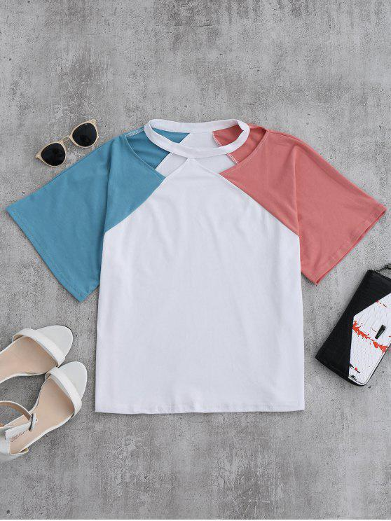 trendy Color Block Cold Shoulder Oversized Tee - PINK ONE SIZE