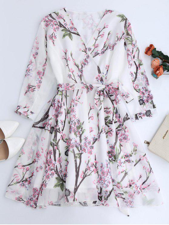 Vestido Fluido de Flores de Gasa con Escote de Plegado Oblicuo - Blanco L