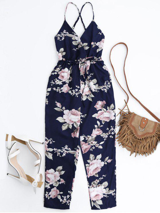 Mono Femenino Floral de Tirantes Finos  con Escote de Plegado Oblicuo con Cinturón con Lazo - Colores Mezclados XL