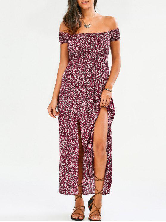 Kleine blumen Schulterfrei Kleid mit Schlitz - Blumen S