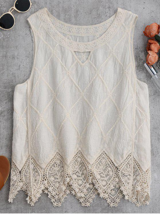 women Cotton Blend Lace Geometric Scalloped Tank Top - OFF-WHITE ONE SIZE