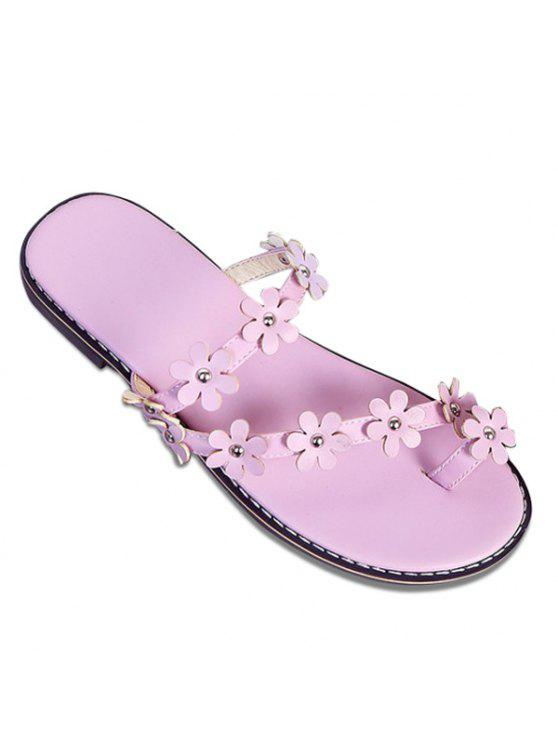 trendy Flat Heel Toe Ring Slippers - LIGHT PURPLE 38