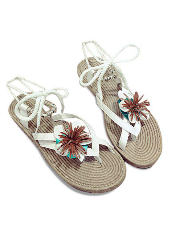 lady Beads Tie Up Flower Sandals - WHITE 39