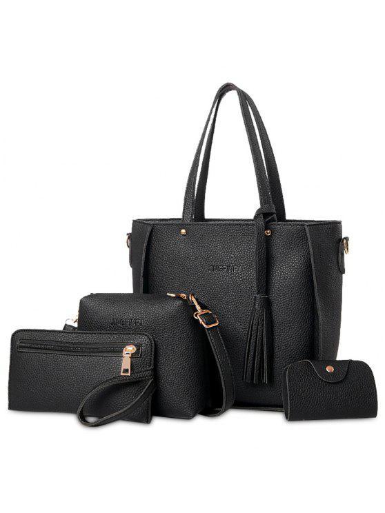 4 قطع حقيبة شرابة توت مجموعة - أسود