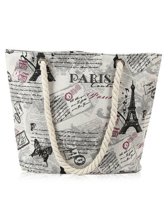 حبل قماش طباعة حقيبة الشاطئ - أبيض فاتح