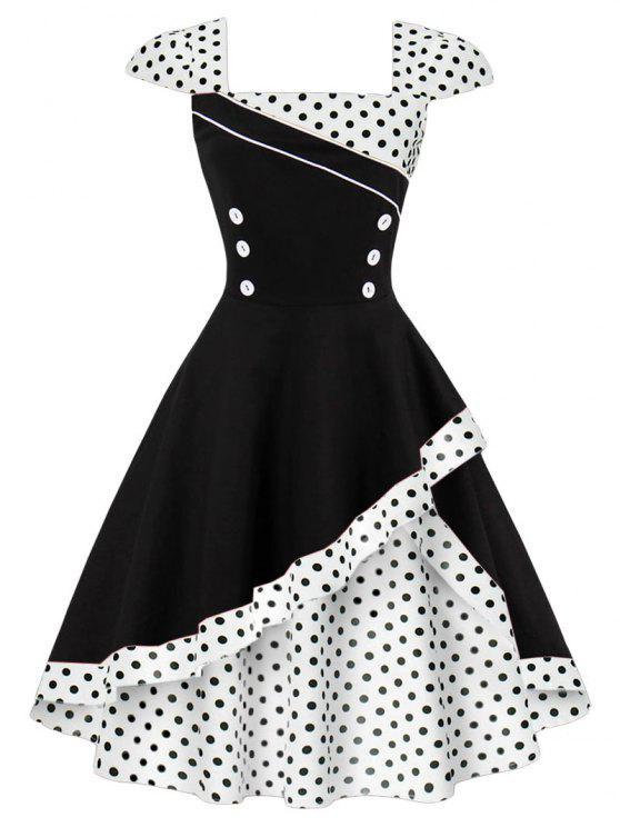 Geknöpftes Polka Dot Vintage Korsett Kleid - Weiß S