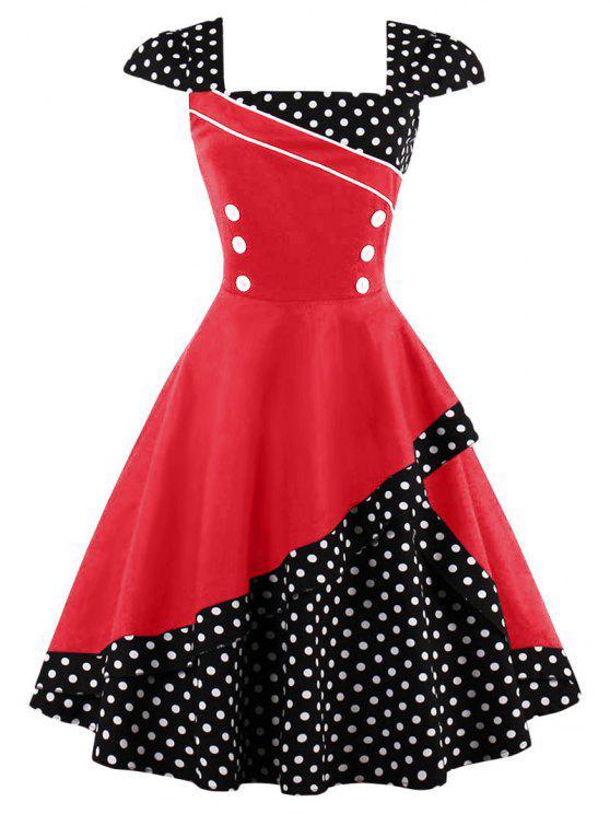 Geknöpftes Polka Dot Vintage Korsett Kleid - Rot L