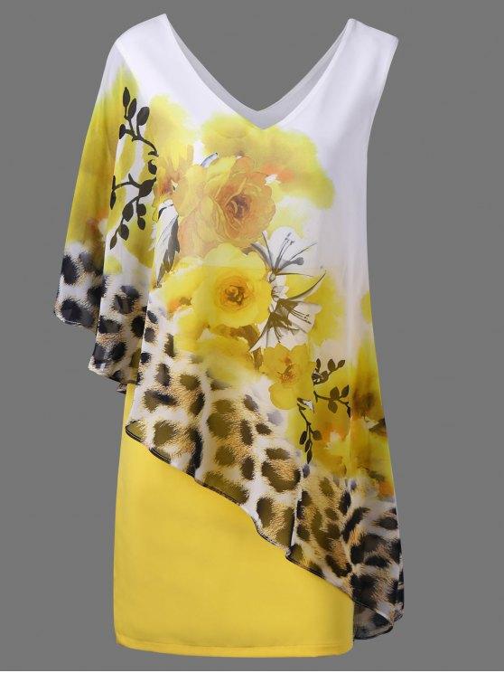 V cuello floral y Cheetah Print Capelet vestido de fiesta - Amarillo 2XL