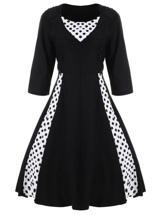 فستان كلاسيكي البولكا نقطة كلاسيكي - أسود 5XL