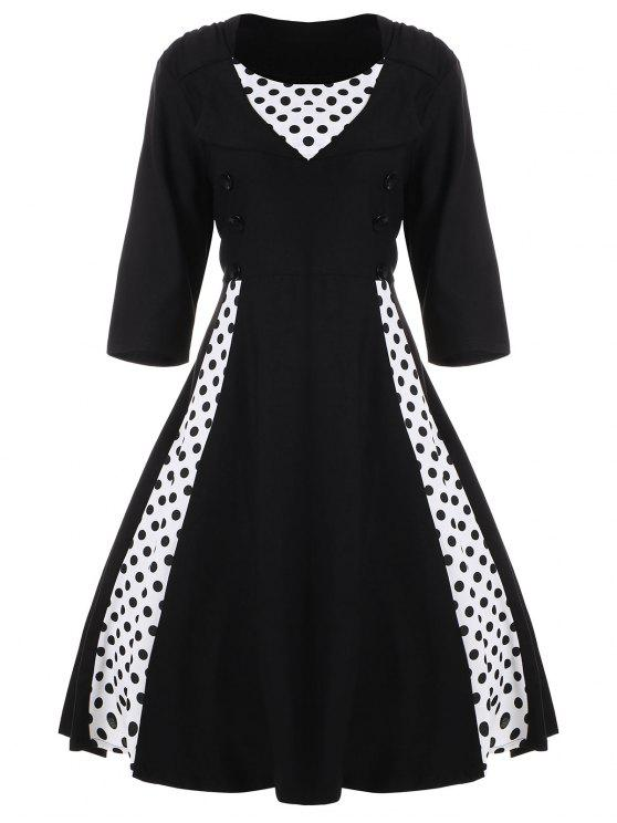 فستان كلاسيكي البولكا نقطة كلاسيكي - أسود 7XL