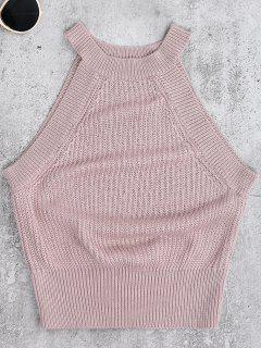 Armhole Knitted Top - Pale Pinkish Grey S