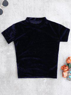 Camiseta Con Cuello De Tripleta De Terciopelo - Cadetblue S