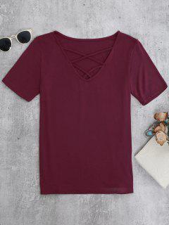 Strappy T-Shirt - Burgundy S