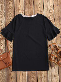 Frilled Sleeve Mini Shift Dress - Black M