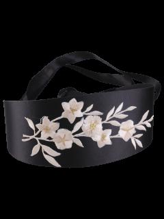Retro Blossom Embroidered Chinoiserie Band Corset Belt - Off-white