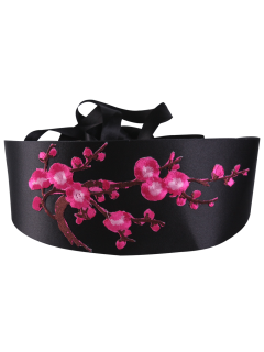 Retro Blossom Embroidered Chinoiserie Band Corset Belt - Tutti Frutti